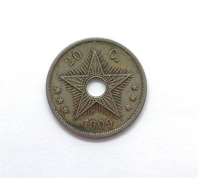 Belgian Congo 1909 20 Centimes  About Uncirculated  Km#14