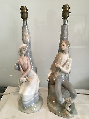 Charming Pair Of Vintage Zaphir (lladro) Style Spanish Porcelain Table Lamps