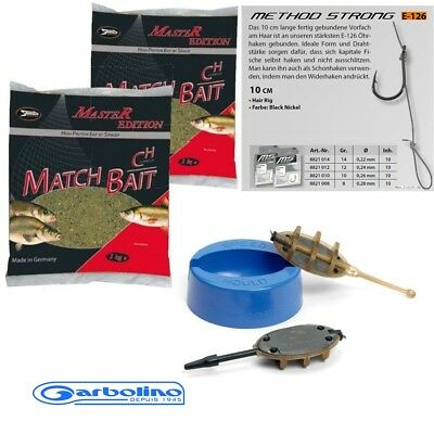 SET Garbolino Method Feeder  FEED2 + Feeder Futter + 10 Stück Hair Rigs GR.8