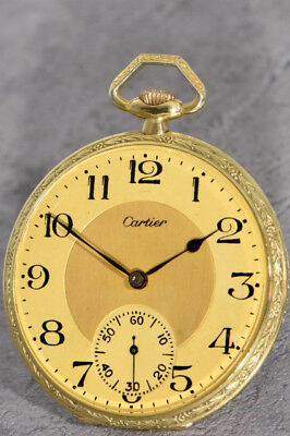 Rare Cartier Floral Decorated 18K Gold Pocket Watch