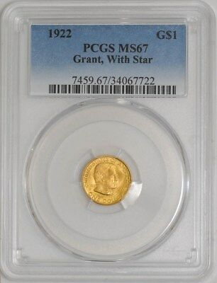 1922 $ Gold Grant With Star Dollar #937508-2 MS67 PCGS