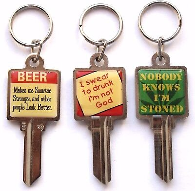 Lot of THREE Key Chains wSayings & UNCUT Schlage SC1 Key Blanks Attached Party