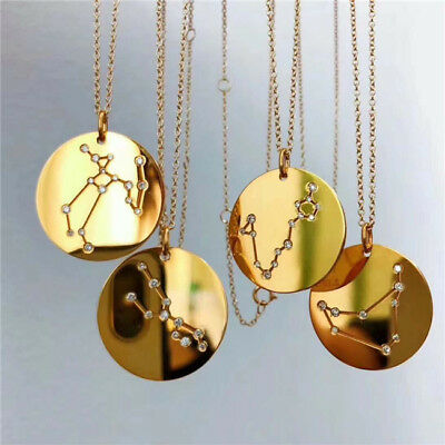 Women 12 Constellations Signs Of The Zodiac Crystal Pendants Alloy Necklace LD