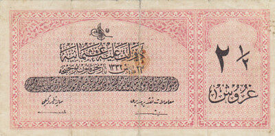 2 1/2 Piastres Fine Banknote From Ottoman Turkish Empire 1913!pick-86