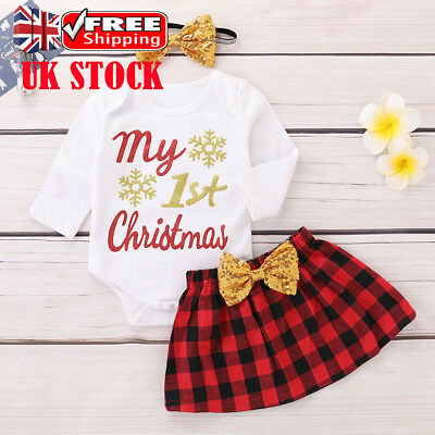 UK Baby Girls MY 1ST CHRISTMAS Bowknot Bodysuit Skirt Set Xmas Outfits Clothes