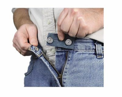 Denim Jean Waist Extender Set of 3 for Men or Women Nickel Finished Metal Button