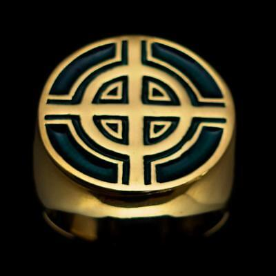 Bronze Mens Costume Ring Celtic Cross Bulls Eye Target Dark Green Any Size