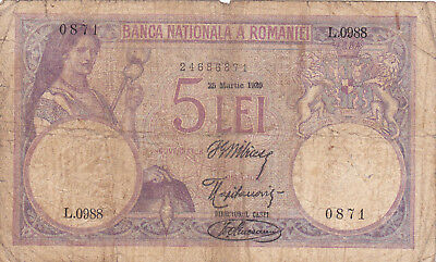 5 Lei Vg Banknote From  Romania1920!pick-19!