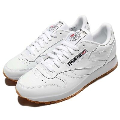 Reebok Cl Lthr Leather White Gum Retro Men Running Shoes Sneakers
