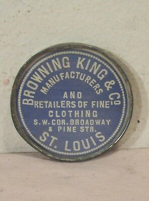 1900~Browning King & Co.~Advertising Clothiers Pocket Mirror~St. Louis~Glass Top