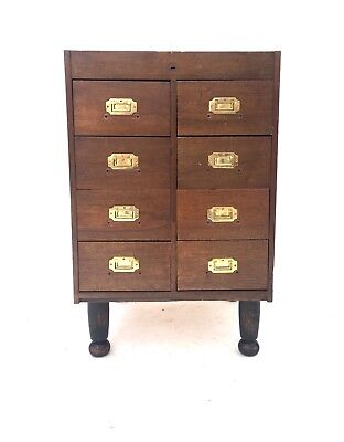 Antique Early 20th Century Industrial Oak Campaign Haberdashery Chest of Drawers
