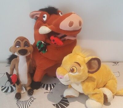 "TIMON PUMBAA SIMBA with Bugs Large 16"" Disney Store LION KING Plush Toy Bundle"