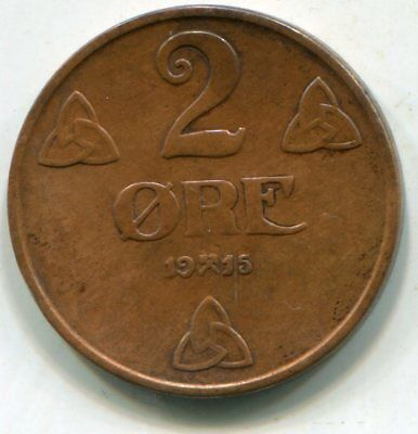 Norway 2 Ore 1915 Key date decent coin   lotsep2894