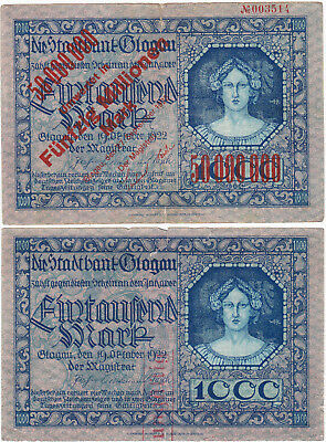 1000&50Million Mark Fine Notes From German Occupied Poland/silezia 1922!rare