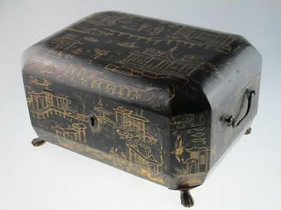 Antique 19th Century Chinese Lacquer Sewing Box Circa 1850