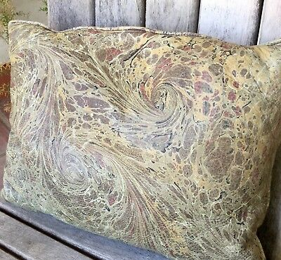 Antique Leather Pillow Marbled Distressed Old World Florentine Library Textile