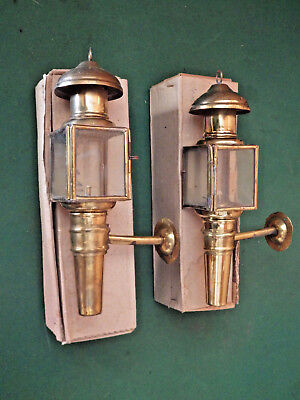 Pair of Small Vintage Brass Carriage Lamps