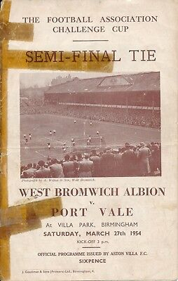 FA CUP SEMI FINAL 1954: West Brom v Port Vale - cellotape repairs