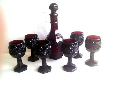 AVON Ruby WINE SET w/Decanter & 6 stemmed Goblets/glasses - Exc. condition