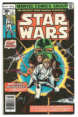 Star Wars # 1 Marvel Comics 1977 Howard Chaykin art/ w/UPC code, squarebox price