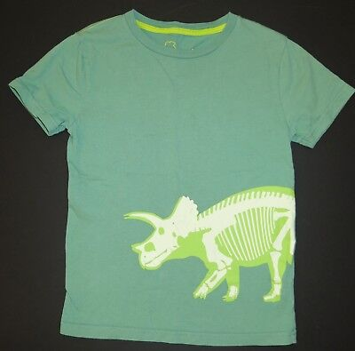 Mini Boden short sleeve Glow in the Dark dinosaur triceratops top tee shirt 7 8