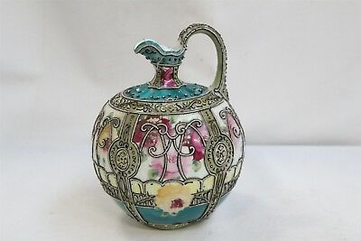 Old Royal Moriye Nippon Moriage Roses Scroll Beads Handled Porcelain Claret Jug