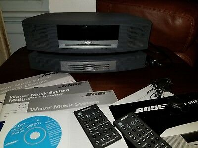 Bose Wave Music System Multi Cd Changer Awrcc1~2 Remotes Headphones~Cd~Papers