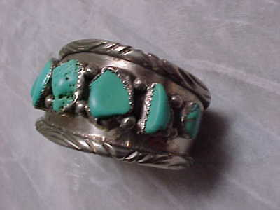 Navajo Signed Sterling And Turquoise Stones Stamped Cuff Bracelet Nr
