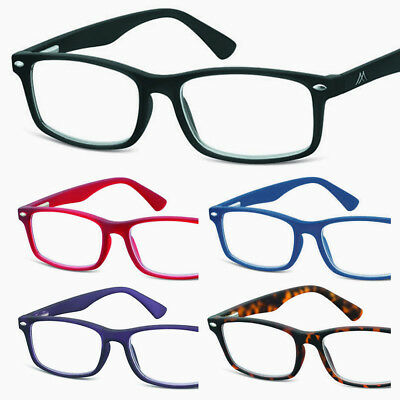 New READING GLASSES Soft-touch Recangular BLACK/Red/Blue/Purple 1.0+1.5+2+2.50+3