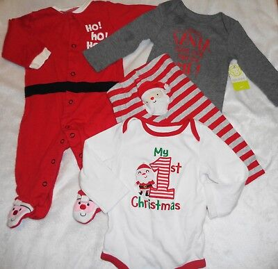 4 Pc Lot Clothes Holiday Carters Sleepers Santa Pants 1St Christmas Size 6-9 Mo.