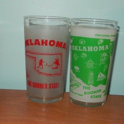 2 Vintage State Of Oklahoma Map Frosted Glass Anchor Hocking