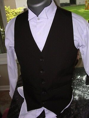 #602 Mens Vintage Pinstriped Steampunk Gangster Style Vest Waistcoat Sz Small