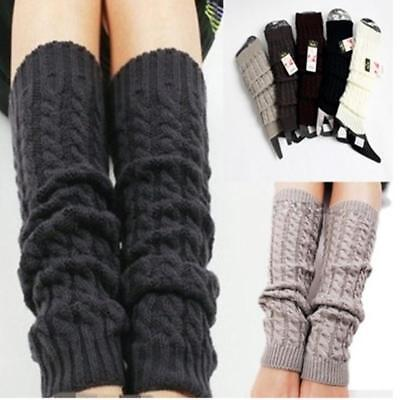 Women Ladies Winter Warm Leg Warmers Cable Knit Knitted Crochet Long Socks LD