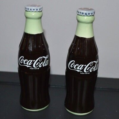 """Vtg Collectible Coca Cola Salt Pepper Shakers Coke Ceramic Never Used 5 1/2"""" Ht"""