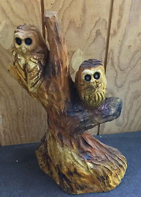 Chain Saw Carving Hand Carved Two Owls in a Tree Western Red Cedar