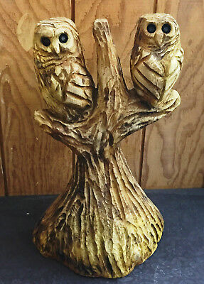 Chain Saw Carving Hand Carved 2 Owls in a Tree Western Red Cedar