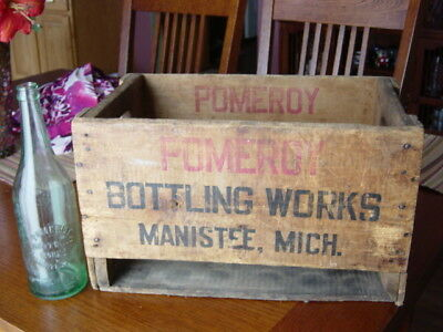 1920s POMEROY Manistee MICHIGAN Mich. MI. soda pop Delivery Crate & 24oz. bottle