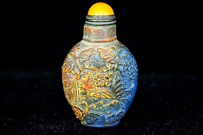 Ancient Collectible Lapis Lazuli Handwork Carve Lifelike Butterfly Snuff Bottle