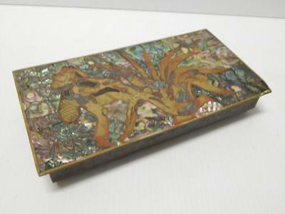 Vintage Mexican Copper? Brass? Wood+ Inlayed Abalone Jewelry Box  Fine Qlty Old