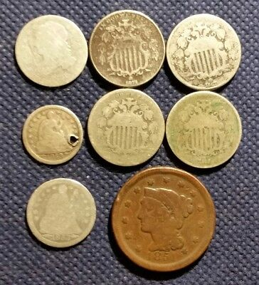 LOT OF 8 Old US USA COINS 4 SHIELD Nickels PLUS LARGE CENT & 3x SILVER JUNK