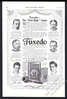 1914 Irving Berlin photo Reginald De Koven etc Tuxedo tobacco vintage print ad
