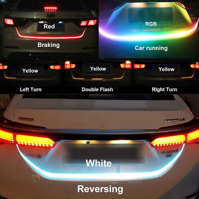 12V Car Flow Type LED Strip Turning Signal Light Bar Trunk Lamp Strips Colorful