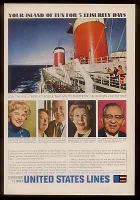 1964 SS United States ship Hildegarde & other passengers photo US Lines print ad