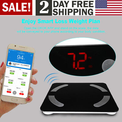 Bluetooth Body Fat Weight Scale 400lb Electronic LCD BMI Fitness Analyzer APP US