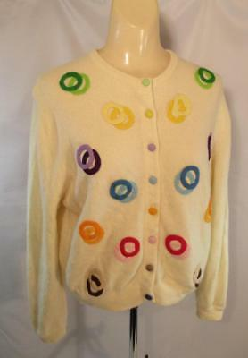 Vintage Women's Cashmere Cardigan Sweater Colorful Circles Rockabilly MED 1950s