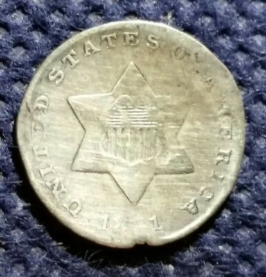 1851 THREE 3 Cents Silver Trime hard to find US Coin 167 YEARS OLD