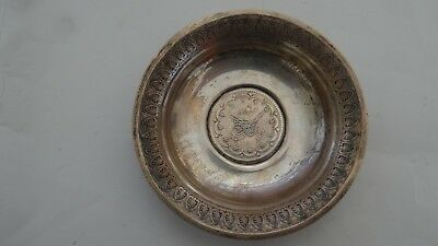 Antique Islamic Turkish Solid Silver Footed Nut Dish With Abdul Hamid Coin