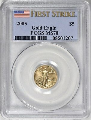 2005 $5 Gold Eagle Pcgs Ms70 First Strike