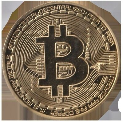 1 oz Bitcoin round Gold Plated coin. Uncirculated