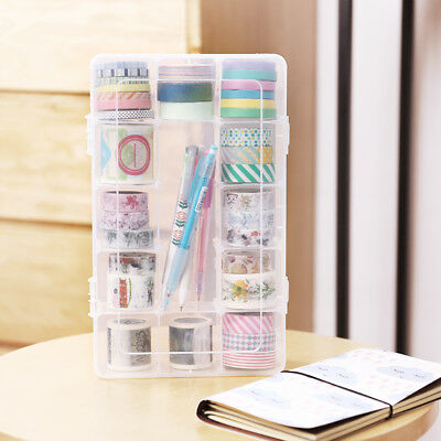 Tape Box Transparent Washi White 15 Grids Detachable Case Tools 1 pc Brand New